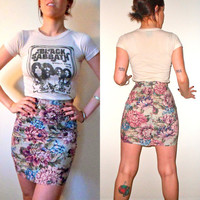 90's Floral High Waist Tight Mini Skirt