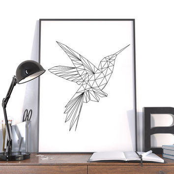 Large Geometric Print, Hummingbird Black, Instant Download Modern Wall Art