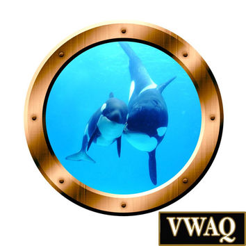Underwater Wall Art 3D Porthole Orca Whale Family Wall Art Killer Whales Ocean View 3D Window Bronze Portal Art BP4