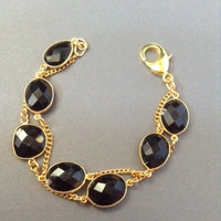 Onyx Chain, bracelet, faceted black Onyx, Vermeil gold, large lobster clasp, black jewelry, chain jewelry, double strand bracelet