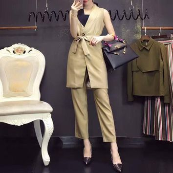 Dior Women Fashion Tailored Collar Bandage Cardigan Sleeveless Suits Vest Jacket Trousers Set Two-Piece
