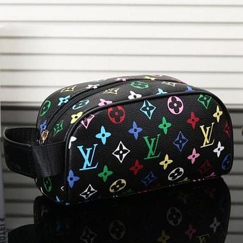 LV Louis Vuitton Womens Fashion Leather Shopping Cosmetic Bag F/A Black LV Colorful Print