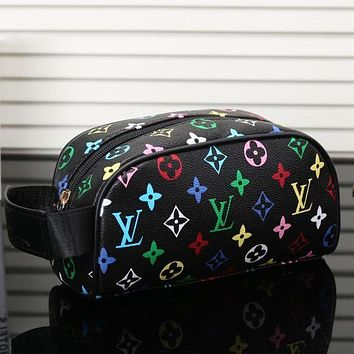LV Fashion Multicolor Women Shopping Print Leather Handbag Satchel Cosmetic Bag I/A