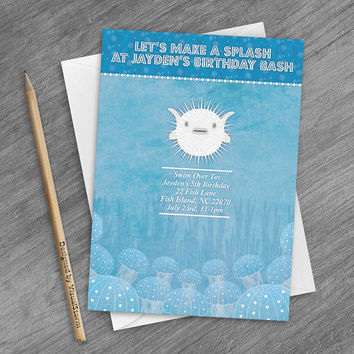 Fish Invitation Printable Under The Sea Fish Party Invite Jellyfish Invitation for Parties Fish Invite Coral Reef Fish Birthday Party Invite