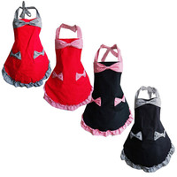 Fashion Women Home Kitchen Bib Cooking Apron With Pockets Bowknot Lace Canvas