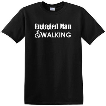 Engaged Man Walking with wedding ring graphic t-shirt, groom tee, engagement, wedding, bachelor party tee, gift for groom, marriage, tshirt