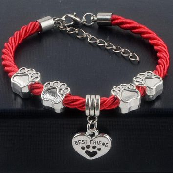DCCKM83 New Hot Sale Fashion Hand-Woven Rope Chain rope Bracelets dog paw best friend Charms Bracelets Jewelry for women XY160480