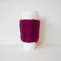 Cable Stitch Coffee Cozy in Boysenberry, ready to ship.