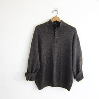 vintage oversized brown henley sweater // elbow patches // Chap's Sweater / men's size L