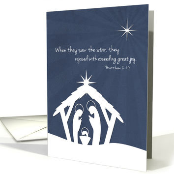 Silhouette Nativity Scene with Christmas Star for Christian Christmas card