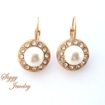 Rose gold earrings, Swarovski cream pearls and crystal accents, bridal earrings, Siggy multi stone earrings