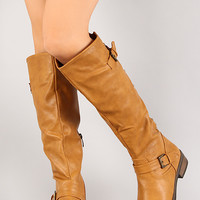 Buckle Studded Riding Boot