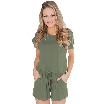 Casual Green Short Sleeve Drawstring Romper