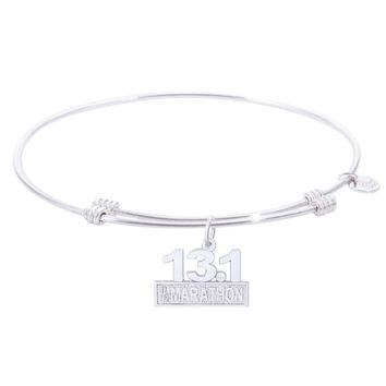 Sterling Silver Tranquil Bangle Bracelet With Marathon 13.1 W/Diamond Charm
