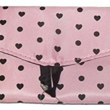 "Staples Teen Vogue Wallet Style Pencil Pouch ~ Pink Hearts (8"" x 3.5"")"