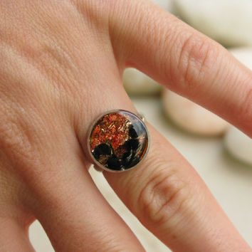 Resin Ring with Copper Flakes - Bronze and Black Ring - Polka Dot Ring - Adjustable Ring - Teens Ring - Black Dot Ring - Orange Coctail Ring
