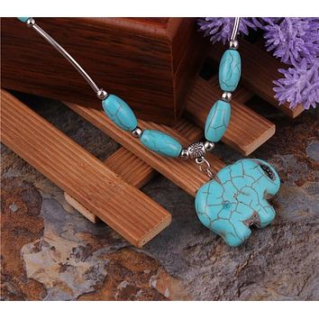 Natural Stone Elephant Pendant Necklaces