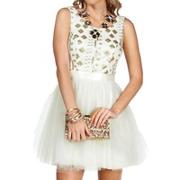 Pre-Order: Arabella- Ivory/Gold Prom Dress