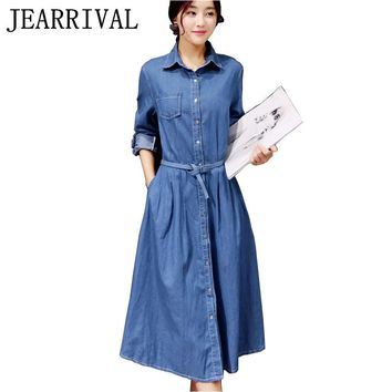 Women Denim Dress 2017 New Spring Summer Fashion Long Sleeve Elegant Tunic Office Party Dresses Casual Jeans Vestidos With Belt