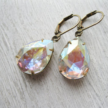 Aurora Borealis Teardrop Earrings, Rainbow Earrings, Vintage Rhinestones, Antique Brass, Wedding Jewelry, Retro Vintage Style, Old Hollywood