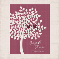 LOVEBIRDS TREE Wall Art, Maroon Prints Couple Name Gift, Personalized Wedding Anniversary Gift,  Established Date Love, Wedding Shower Gift