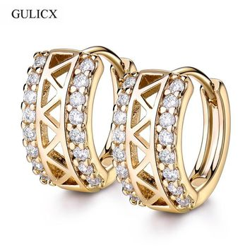GULICX Cubic Zircon Small Hoop Earrings Jewelry for Women Hollow White Crystal CZ Zirconia Fashion Jewellery Accessories E183