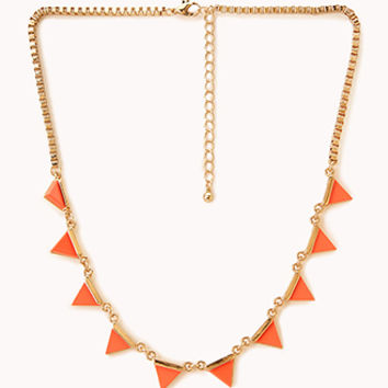 FOREVER 21 Neon Pop Chain Necklace Orange/Gold One