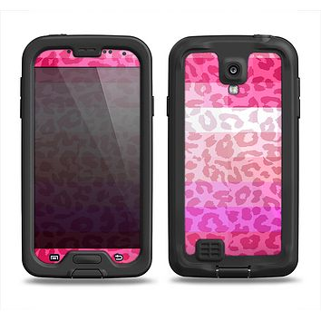 The Hot Pink Striped Cheetah Print Samsung Galaxy S4 LifeProof Fre Case Skin Set