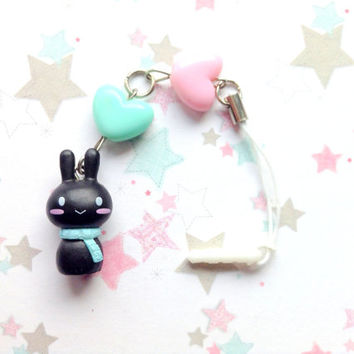 Black Cute Bunny Dust Plug, Rabbit Phone Charm, Pastel Heart Bead Charm, Kawaii Bunny Charm, Earphone Jack, Nintendo 3DS, Ps Vita,