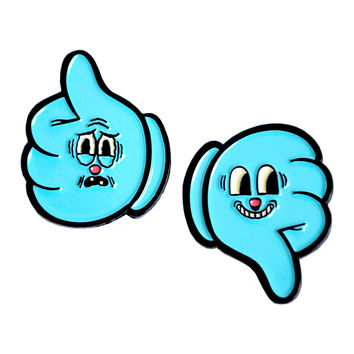 Thumbs Up Thumbs Down Enamel Pin