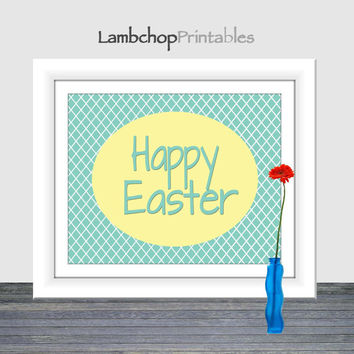 Happy Easter Printable, Easter Sign, 8x10, 16x20, Happy Easter Wall Art, Printable Easter Art Print, Easter Decor, Spring Decor, Sea Foam