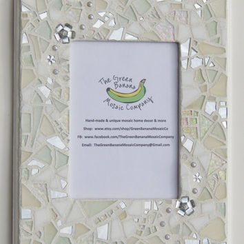 "Mosaic Picture Frame,  5"" x 7"" Picture Size, Shades of White + Silver Mirror, Handmade Stained Glass Mosaic Design, Wall Frame, Wedding Gift"