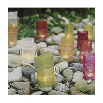 "LED Lighted Flickering Garden Party Colorful Candle Bags Canvas Wall Art 11.75"" x 11.75"""