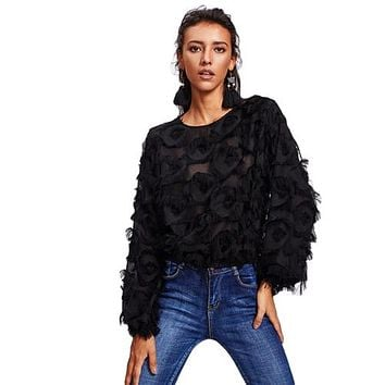 SHEIN Fringe Patch Mesh Top Sexy Autumn Womens Tops and Blouses Black Long Sleeve Round Neck Elegant Womens Tops