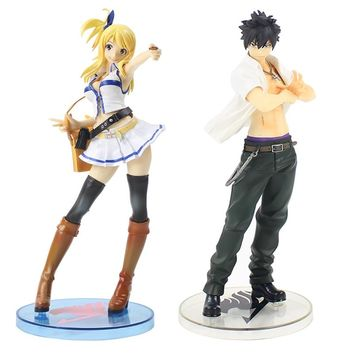 20-22cm Fairy Tail Lucy White Dress Lucy Heartfilia Gray Fullbuster 1/7 Scale Painted Figure Figurine PVC Collectible Model Toy
