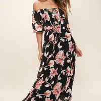 Infinite Love Black Floral Print Off-the-Shoulder Maxi Dress