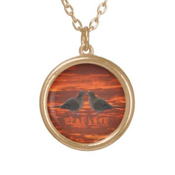 Kissing Mourning Doves Gold Plated Necklace