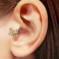 Rose gold plated love charm Ear Cuff, Nose cuff, Tragus cuff,   Non Pierced Nose Ring, Cartilage, Fake piercing