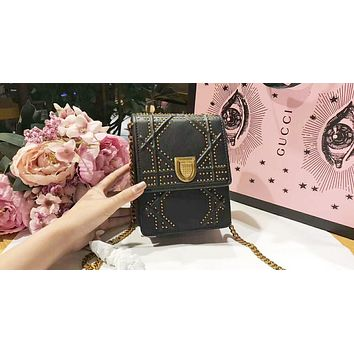DIOR Stylish Women Shopping Leather Metal Chain Buckle Shoulder Bag Mobile Phone Package Satchel Crossbody Black I-QS-MP-JZLB