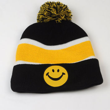 Yellow Pom Pom Beanie with Smiley Face Patch stripped with  Black and White