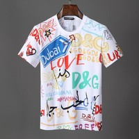 D&G Dolce & Gabbana Men Fashion White T-Shirt Top Tee