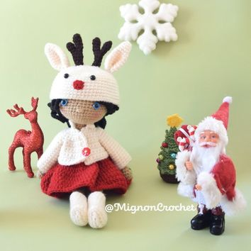 Cute Crochet Doll with Reindeer Outfit Céline - christmas decoration - amigurumi - pattern erikadu @MignonCrochet