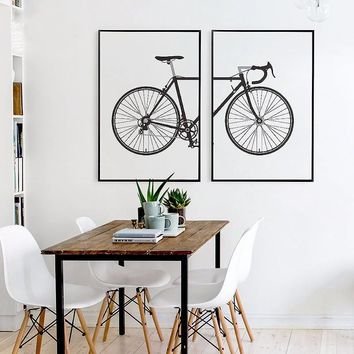 Nordic black and white fashion bike painting canvas posters living room scandinavian wall art prints Modular pictures home decor