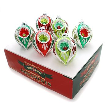 Shiny Brite Holiday Splendor Tulips W/Reflectors Glass Ornament Set
