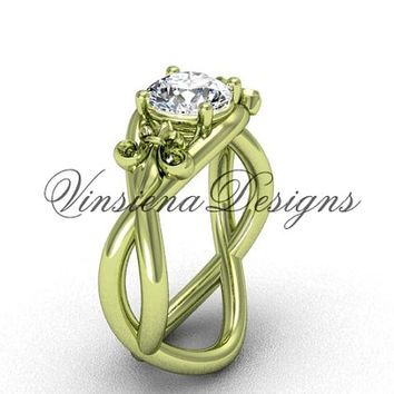 14kt yellow gold Fleur de Lis engagement ring VD10024