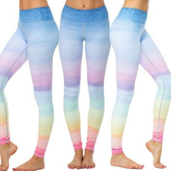 Rainbow Gym Running Tights Women High Elastic Yoga Pants