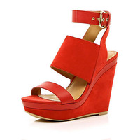 Red peep toe platform wedges - wedges - shoes / boots - women