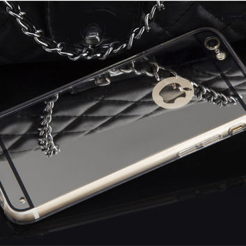 Bling Glitter Transparent Mirror Soft Case For iphone 6s Apple 4s 4 SE 5 5S 6 7 Plus Cover Silicone Frame Back Cover Phone Cases