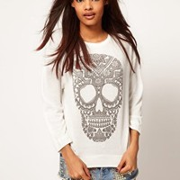 ASOS Top in Loose Knit with Henna Skull at asos.com