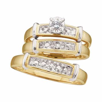 Sterling Silver His & Hers Round Diamond Solitaire Matching Bridal Wedding Ring Band Set 1/12 Cttw